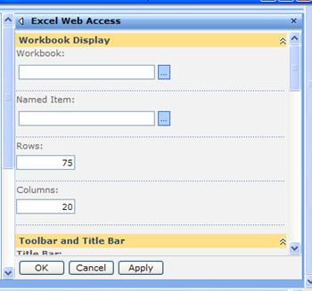 The tool pane for the Excel Web Access Web Part