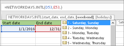 Intellisense list showing 2 - Sunday, Monday; 3 - Monday, Tuesday, and so on