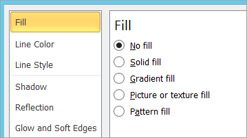Selecting No fill for a text box