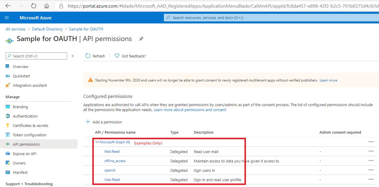 Azure Active Directory App Permissions Scopes