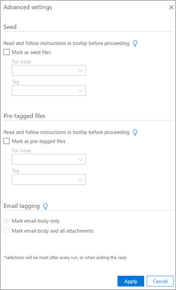 Screenshot of Advanced settings page for processing batch files