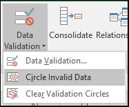 Circle Invalid Data on the ribbon