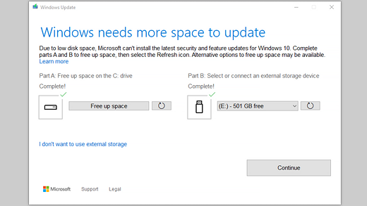 Windows needs more space to update message