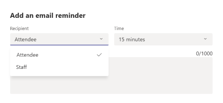Add reminder in a Booking in the Teams Booking app