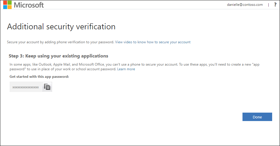 App passwords area of the Additional security verification page