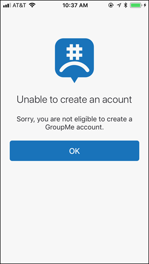 The Unable to create an account (birthday) screen in GroupMe