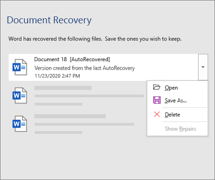 AutoRecovered file listed in the Document Recovery pane