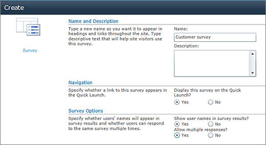 SharePoint 2010 Survey options page