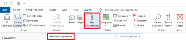 "Search criteria ""From"" ""Subject"", ""Has Attachments"""