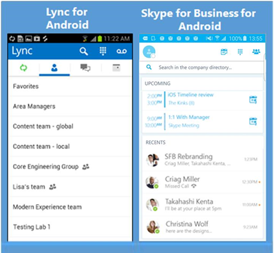 Side-by-side screenshots of Lync and Skype for Business
