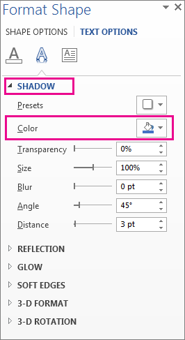 Format Shape pane with Shadow expanded showing Color button