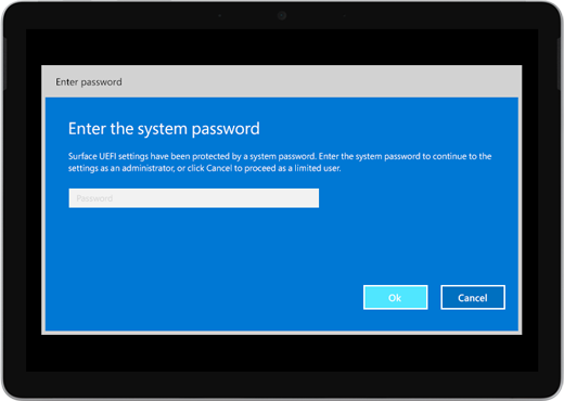"""Shows a blue screen that says """"Enter the system password."""" There's a box to enter the password, and below that, there are OK and Cancel buttons."""