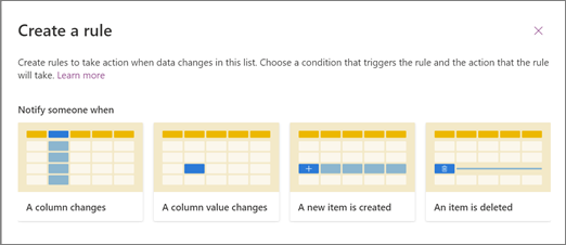 Screenshot of choosing a rule template for when to notify someone