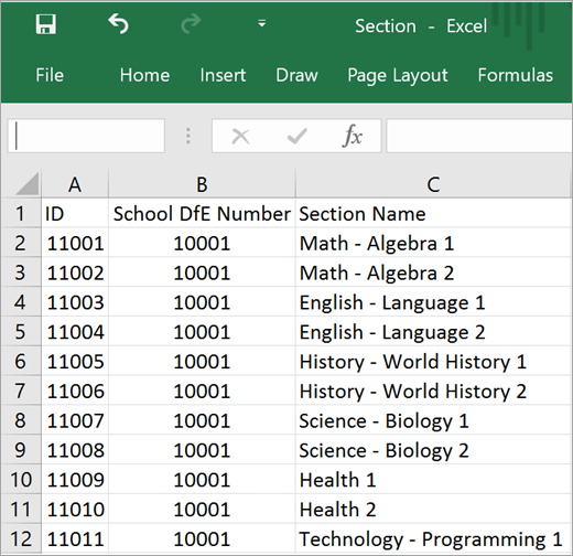 Minimum required attributes for Section.csv