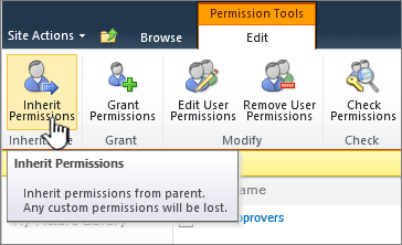 Click inherit permissions to reconnect with parent