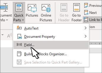 QuickParts menu with Fields highlighted