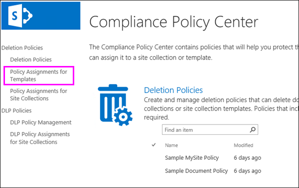 Policy Assignments for Templates link