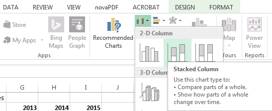 Start by selecting Stacked Column.