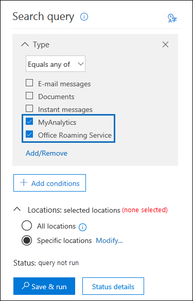 Select the MyAnalytics and Office Roaming Service checkboxes to export usage data