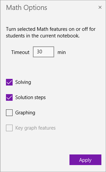 Math Options pane to set timeout countdown and turn off math features.