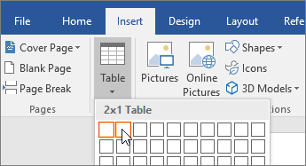 Specifying a table that has 2 columns, 1 row