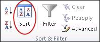 Sort command in the Sort and Filter group on the Data tab