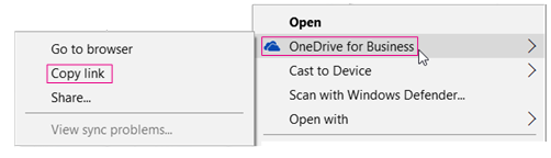 OneDrive for Business, Copy Link