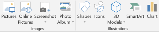 Insert images or illustrations in PowerPoint.