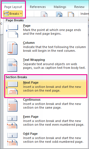 How do I create separate page numbering on a Word document?