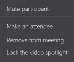 Participant actions