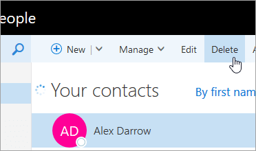 A screenshot of the Delete button under the Outlook navigation bar.