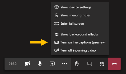 Turn on live captions menu option