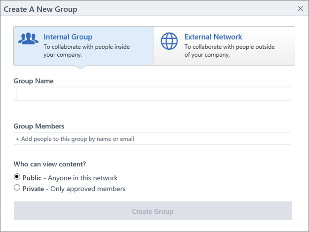 The Create Group dialog box