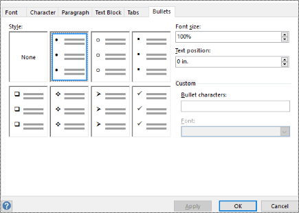 Bullet tab with different bullet styles in Visio.