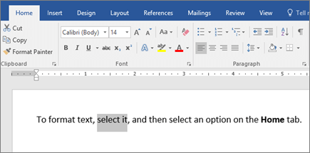 Word ribbon format text options