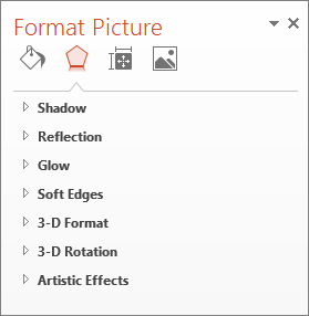 More effects options in the Format Picture pane