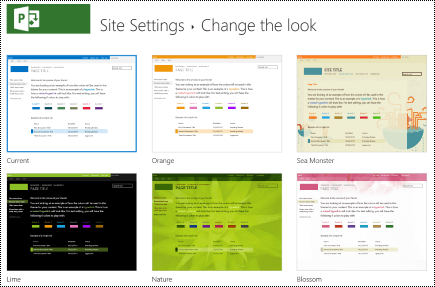 Change the look menu with site designs in Project Online.