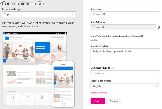 Create a SharePoint communication site