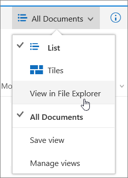 Open with Explorer highlighted on the views menu in SharePoint Online