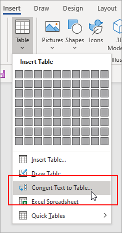 The Convert Text to Table option is highlighted on the Insert tab.