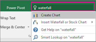 Tell me box with waterfall text and results in Excel 2016 for Windows