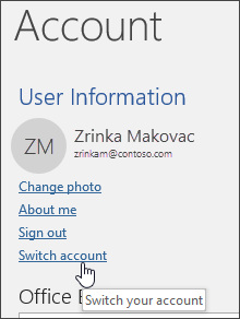 Screenshot showing how to switch accounts in Account info