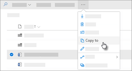 Screenshot of the Copy to command in OneDrive for Business
