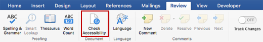 Screen shot of Review ribbon with Check Accessibility icon