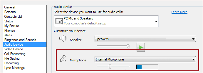 Screen shot of Lync audio check mic