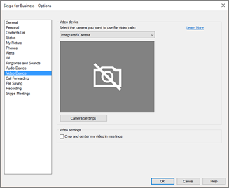 Video device settings, Crop and center my video in meetings check box