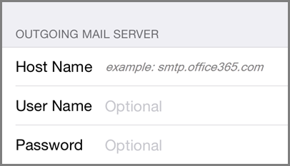 Outgoing mail server settings