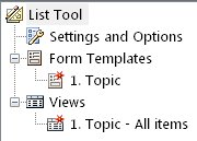 List of form templates and views