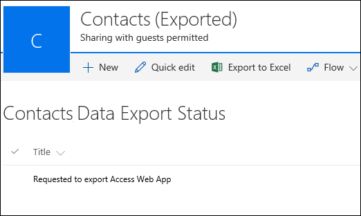 SharePoint list with record titled requested to export Access web app