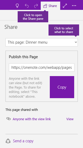 Screenshot of sharing a single page in OneNote